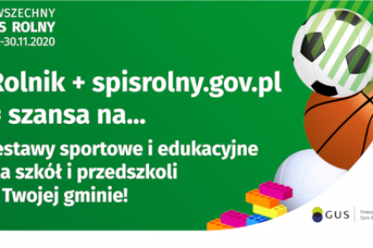 Powszechny Spis Rolny 2020 - konkurs: zestawy sportowe dla szkół podstawowych i przedszkoli dla zwycięskich gmin
